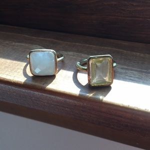 Set of Faceted Gem Rings